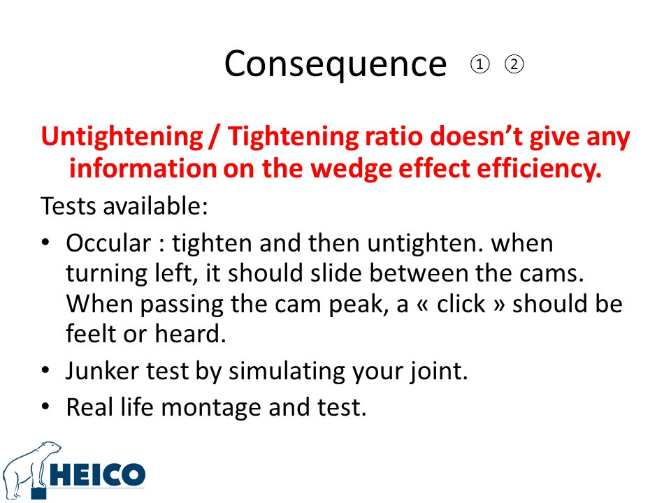 Consequence ①. ②. Untightening / Tightening ratio doesn't give any information on the wedge effect efficiency.