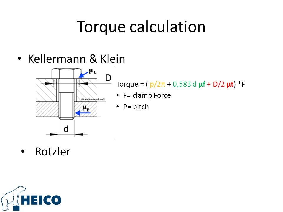 Torque calculation Kellermann & Klein Rotzler
