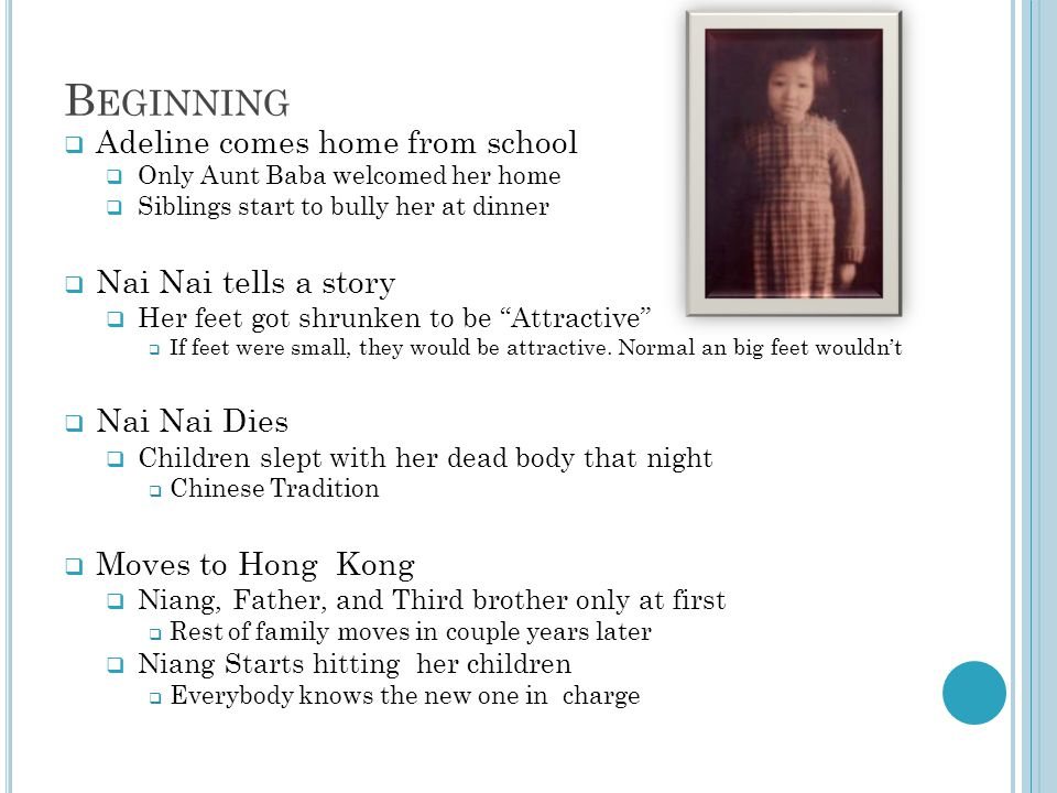 Beginning Adeline comes home from school Nai Nai tells a story