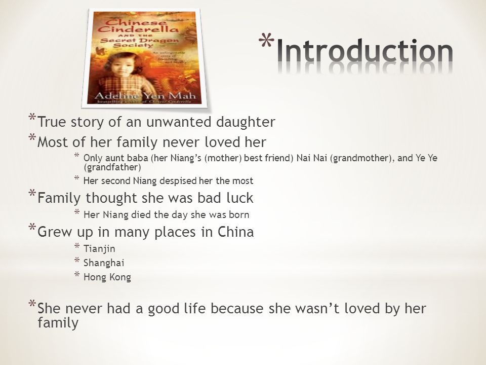 Introduction True story of an unwanted daughter