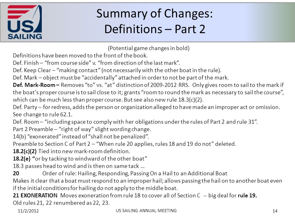 Summary of Changes: Definitions – Part 2