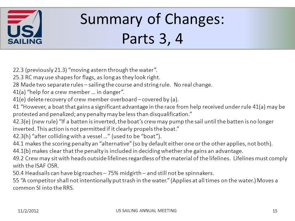 Summary of Changes: Parts 3, 4