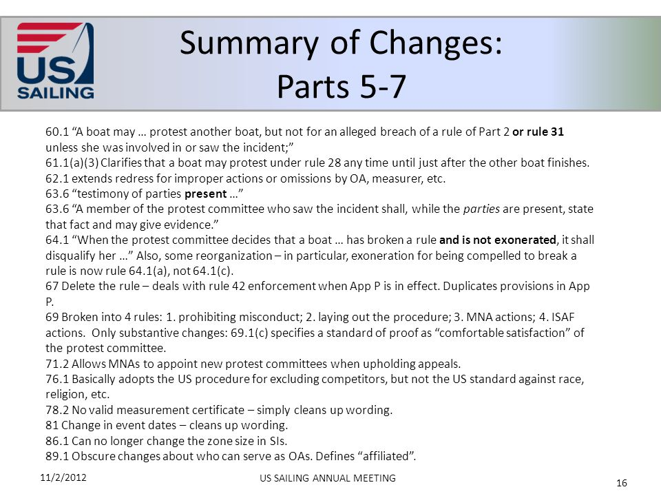 Summary of Changes: Parts 5-7