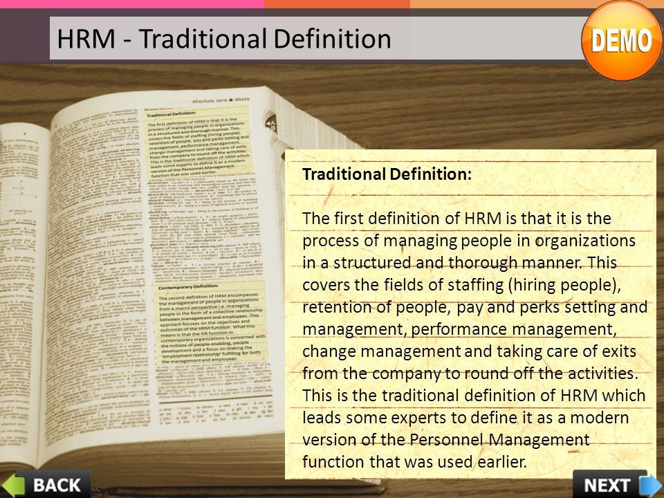 HRM - Traditional Definition