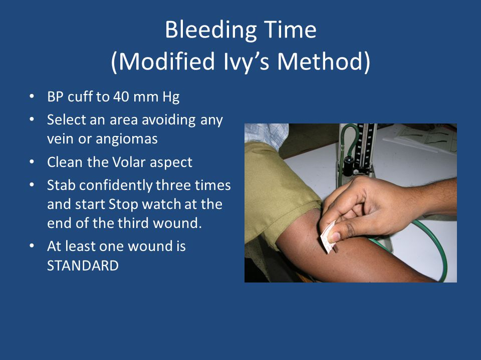 Bleeding Time (Modified Ivy's Method)