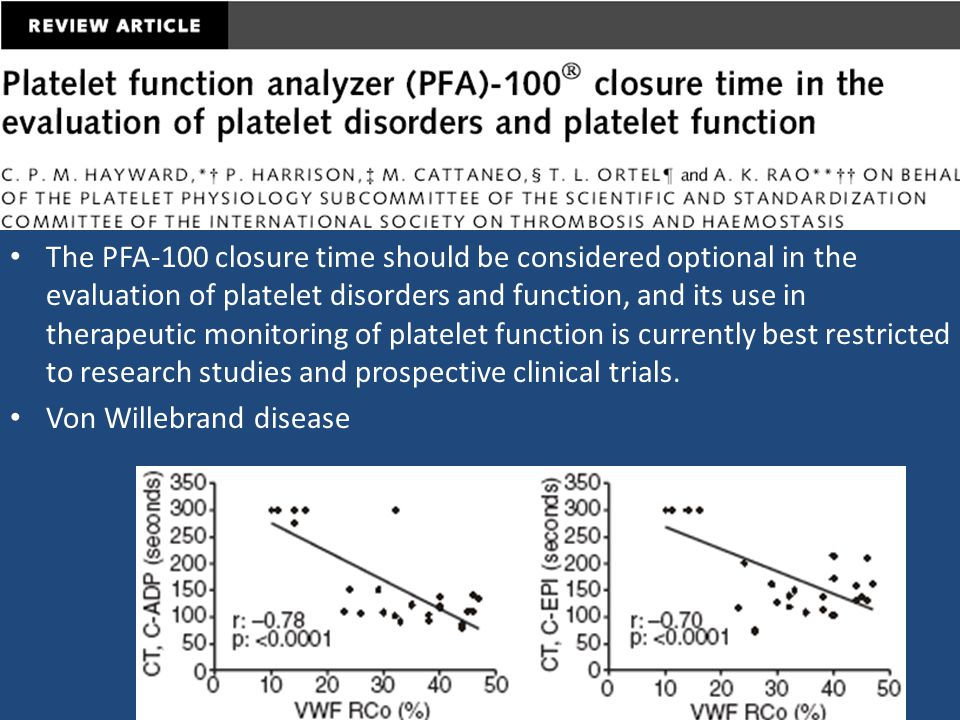 The PFA-100 closure time should be considered optional in the evaluation of platelet disorders and function, and its use in therapeutic monitoring of platelet function is currently best restricted to research studies and prospective clinical trials.