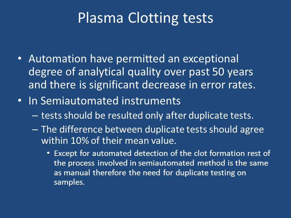 Plasma Clotting tests