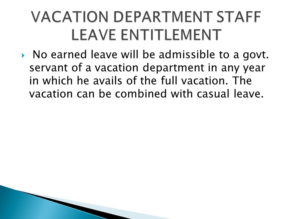 VACATION DEPARTMENT STAFF LEAVE ENTITLEMENT