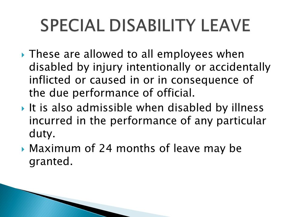SPECIAL DISABILITY LEAVE