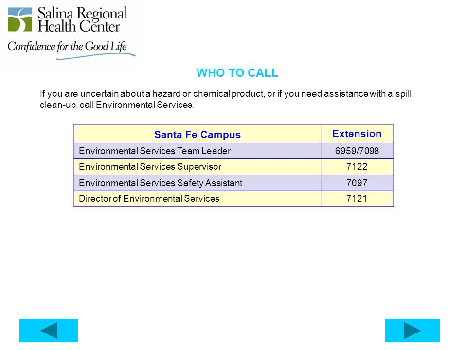 WHO TO CALL Santa Fe Campus Extension