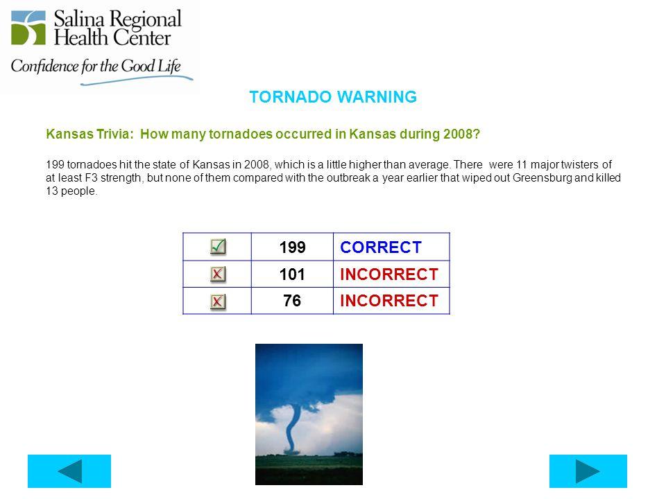 TORNADO WARNING 199 CORRECT 101 INCORRECT 76