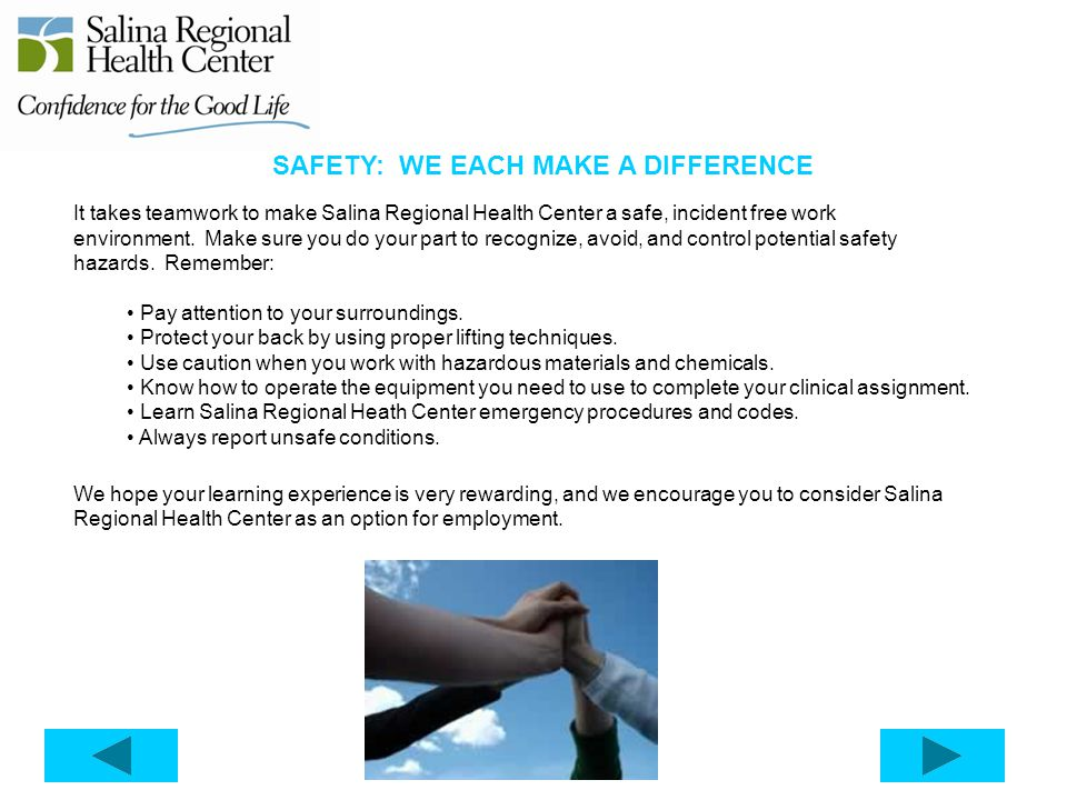 SAFETY: WE EACH MAKE A DIFFERENCE