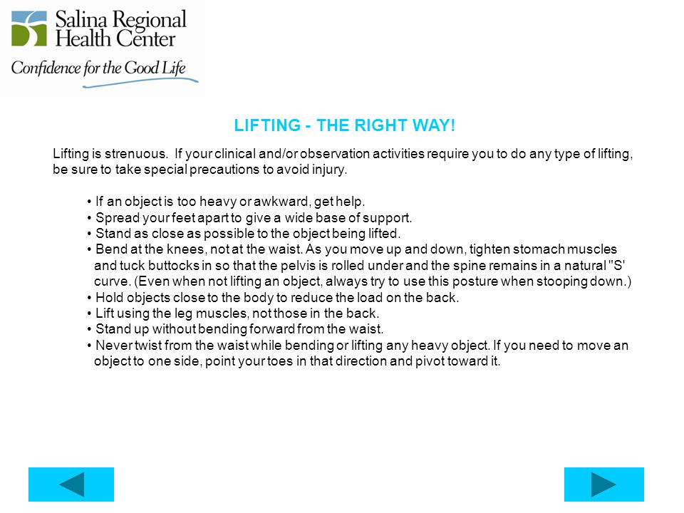 LIFTING - THE RIGHT WAY!