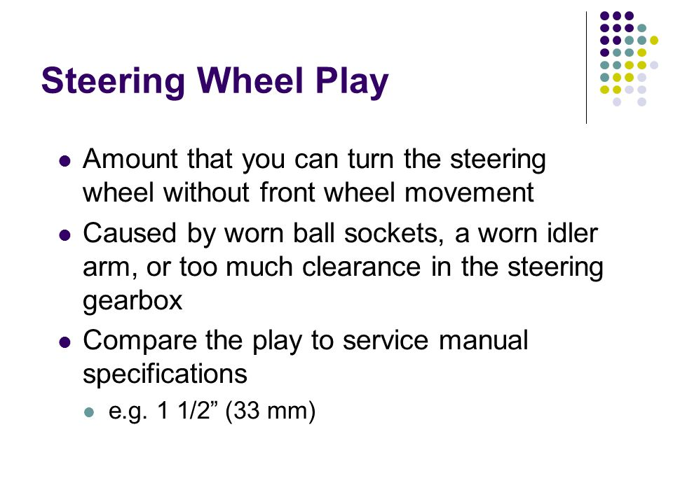Steering Wheel Play Amount that you can turn the steering wheel without front wheel movement.