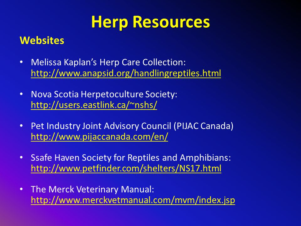 Herp Resources Websites