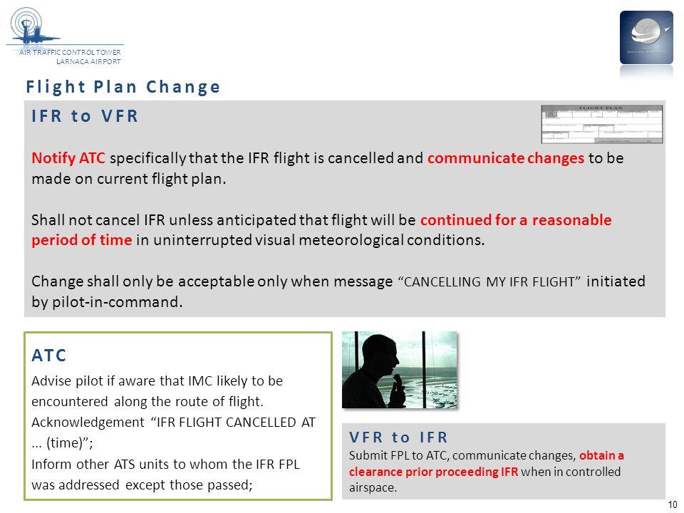 Flight Plan Change IFR to VFR ATC