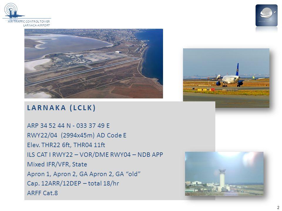 LARNAKA (LCLK) ARP 34 52 44 N - 033 37 49 E. RWY22/04 (2994x45m) AD Code E. Elev. THR22 6ft, THR04 11ft.