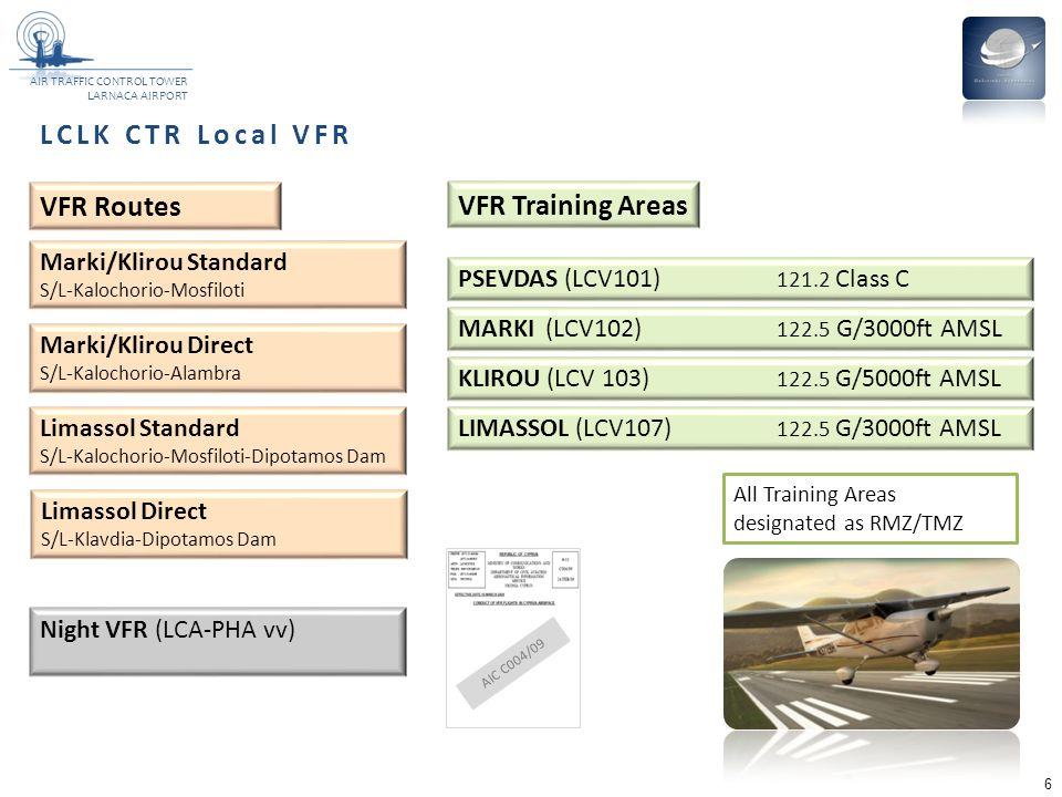LCLK CTR Local VFR VFR Routes VFR Training Areas Marki/Klirou Standard