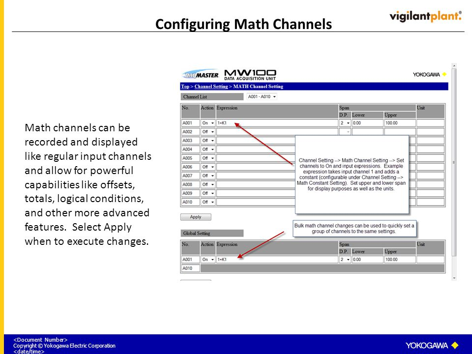 Configuring Math Channels