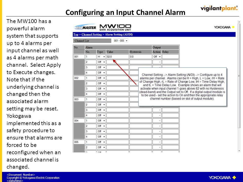 Configuring an Input Channel Alarm
