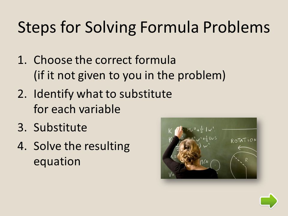 Steps for Solving Formula Problems