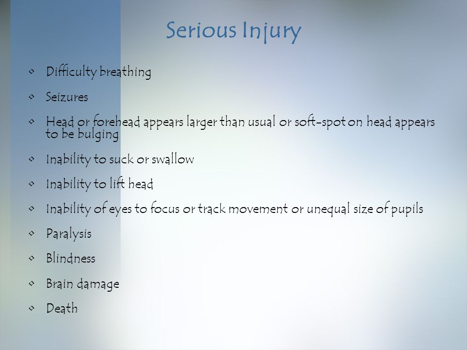 Serious Injury Difficulty breathing Seizures