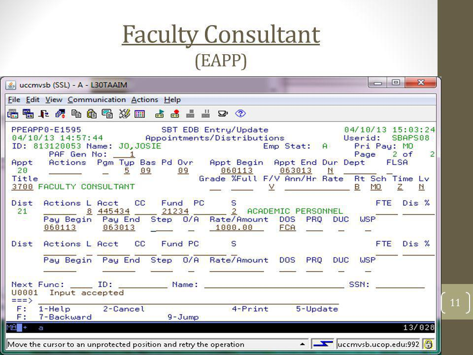 Faculty Consultant (EAPP)