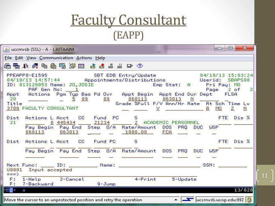 Faculty Consultant (EAPP)
