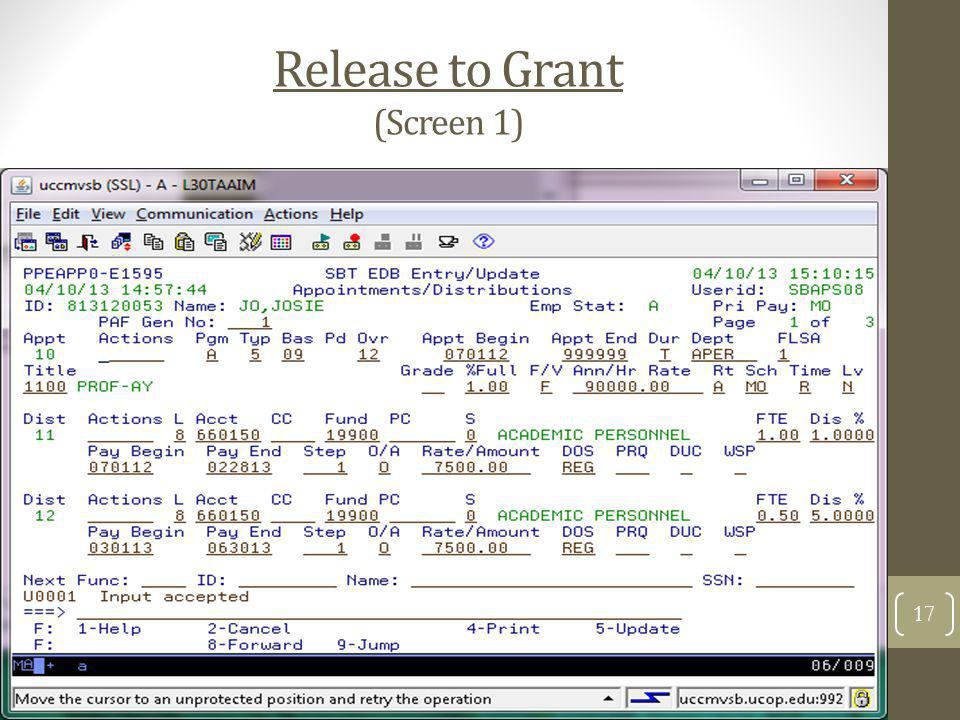 Release to Grant (Screen 1)