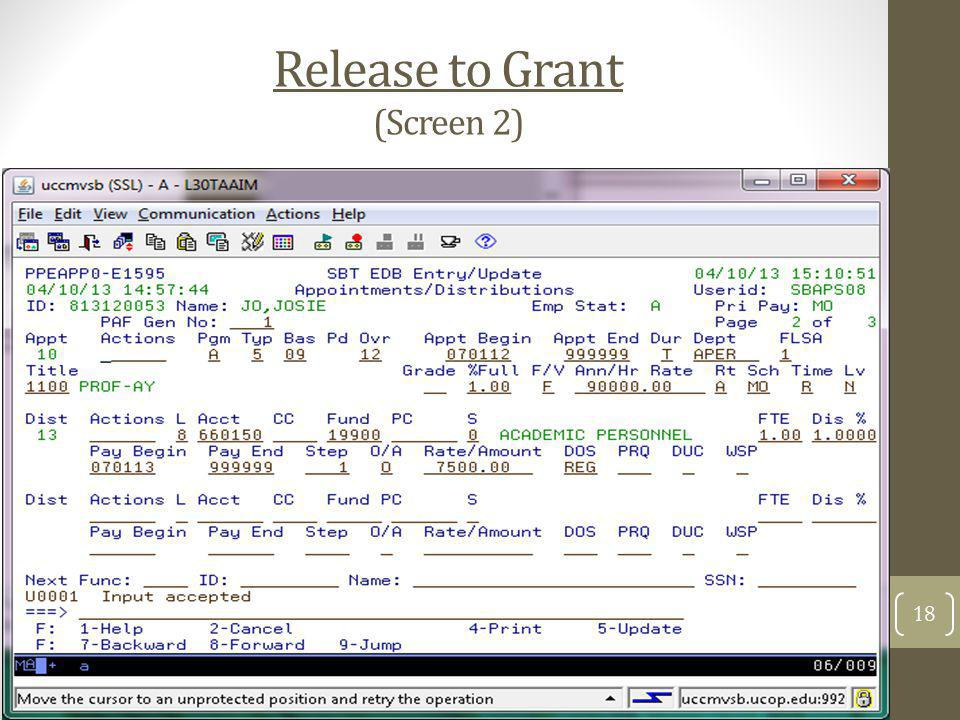 Release to Grant (Screen 2)
