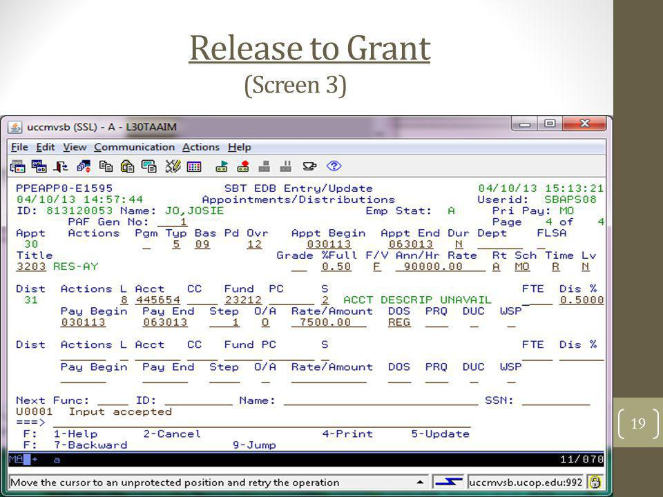 Release to Grant (Screen 3)