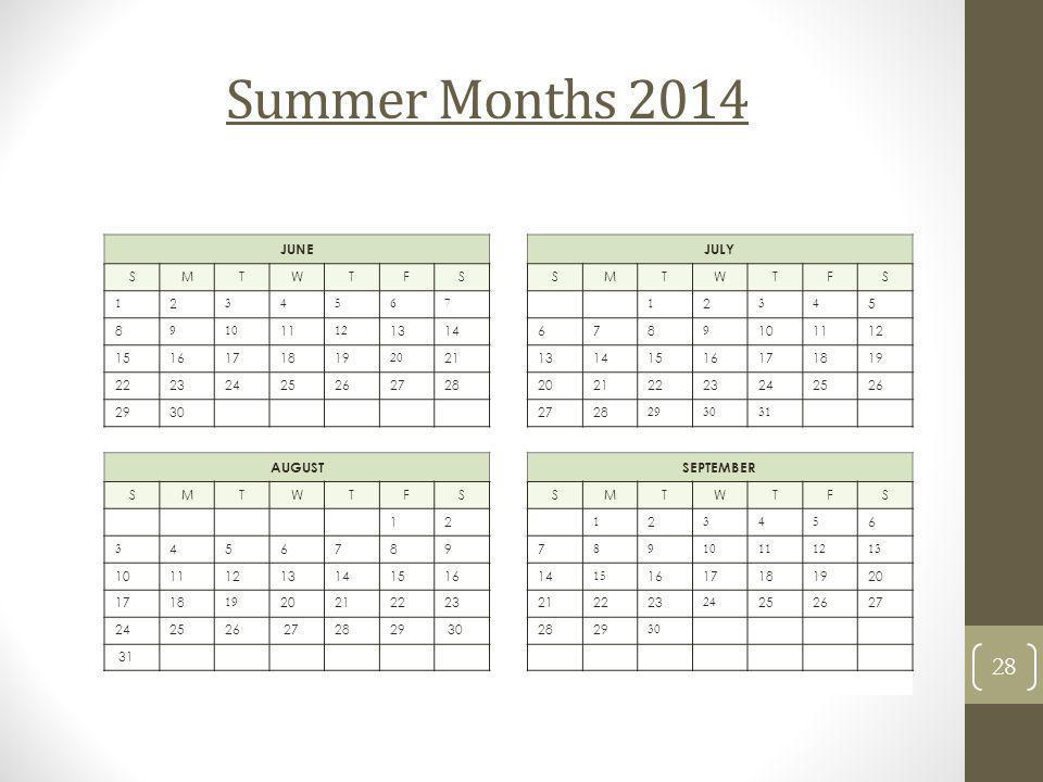 Summer Months 2014 JUNE JULY AUGUST SEPTEMBER S M T W F 1 2 3 4 5 6 7