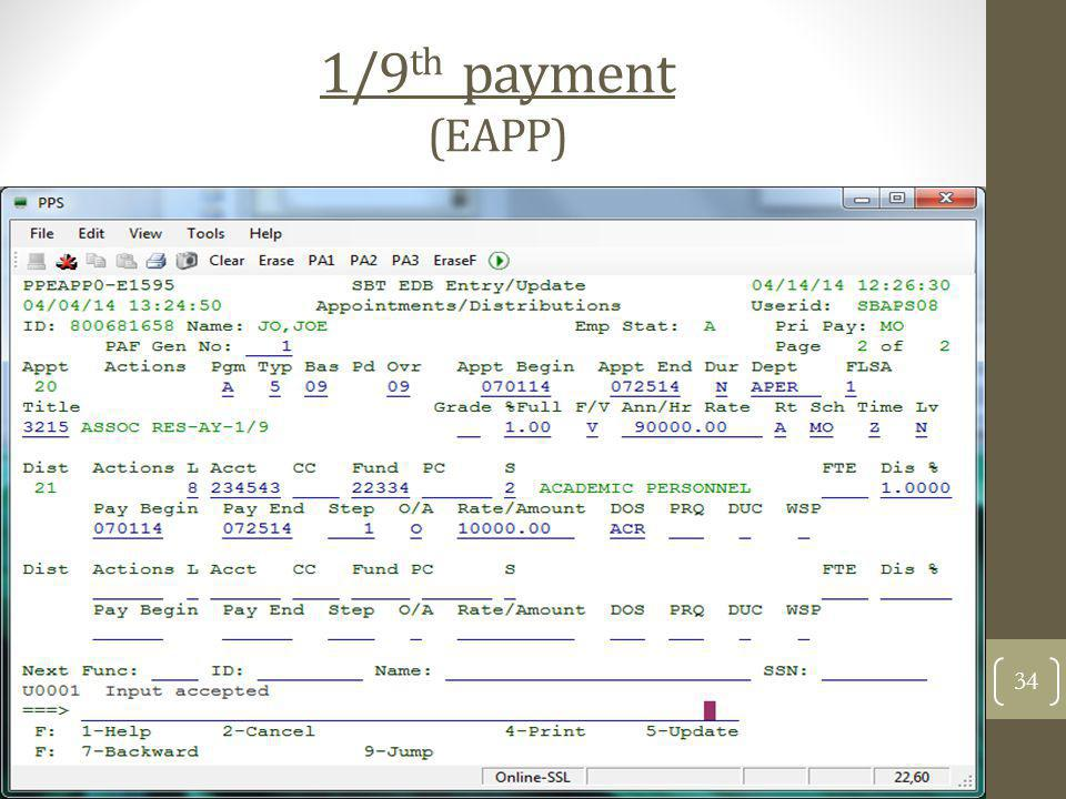 1/9th payment (EAPP)
