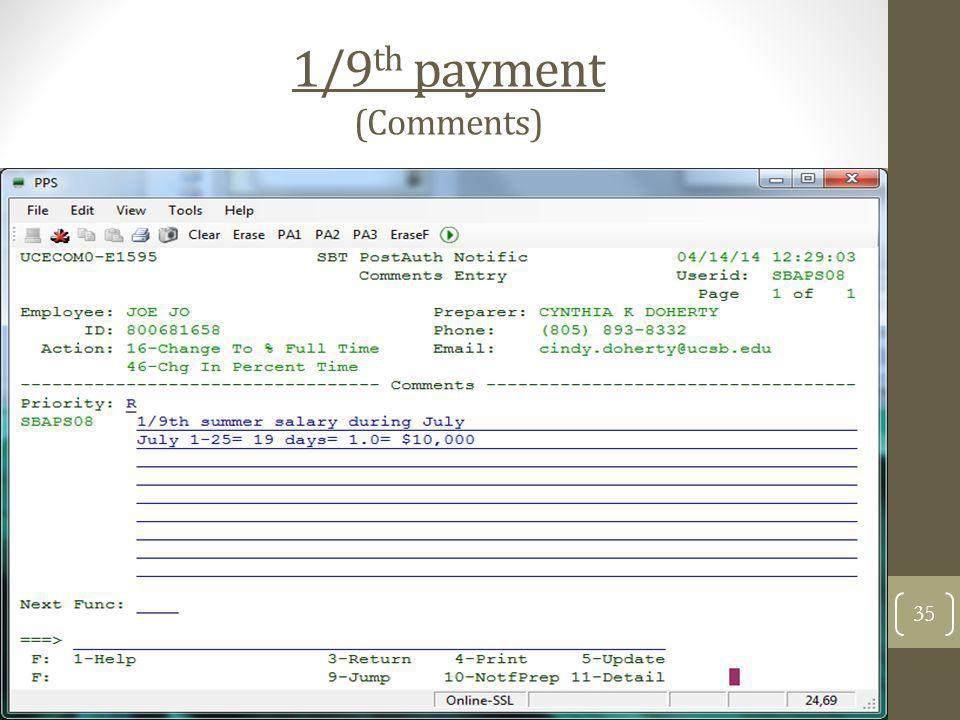 1/9th payment (Comments)