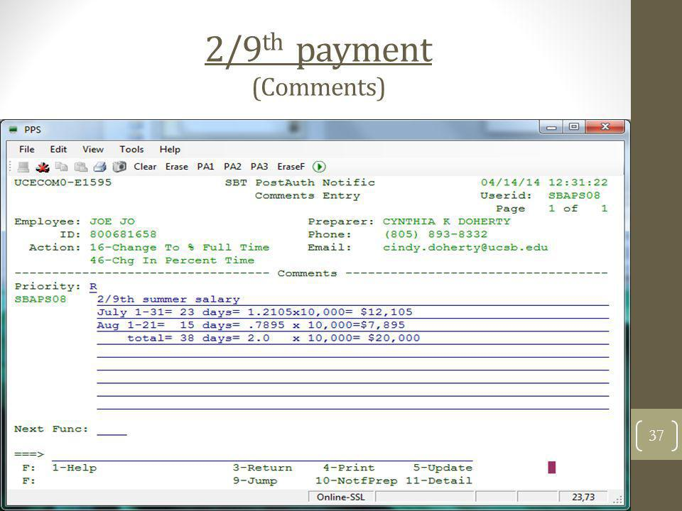 2/9th payment (Comments)