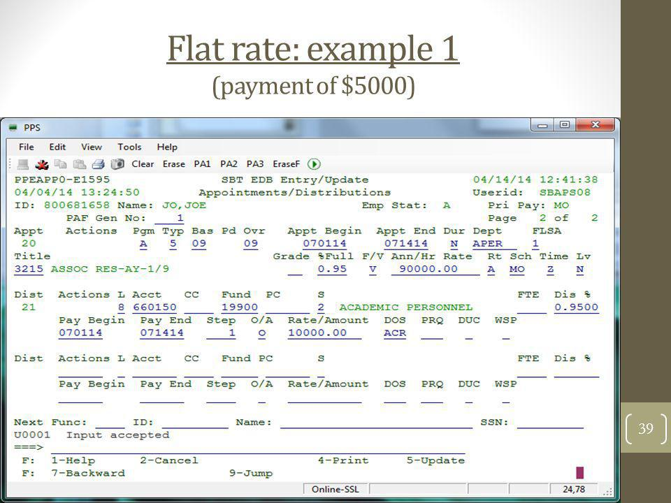 Flat rate: example 1 (payment of $5000)