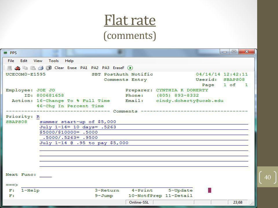 Flat rate (comments)
