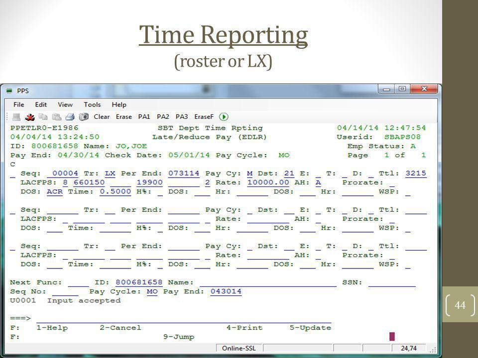 Time Reporting (roster or LX)
