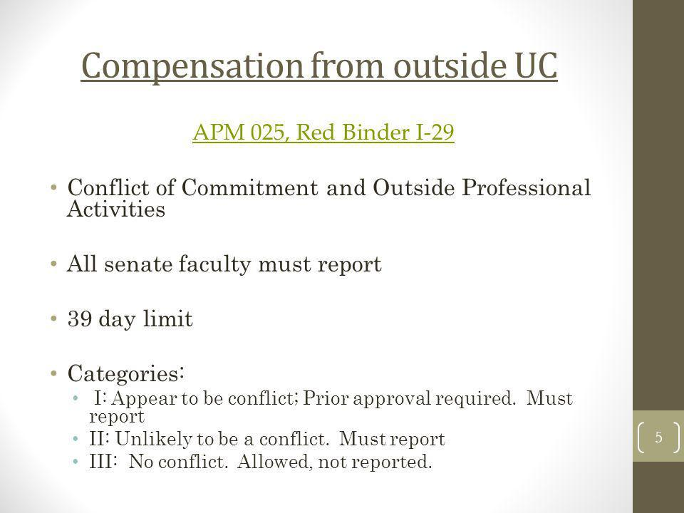 Compensation from outside UC