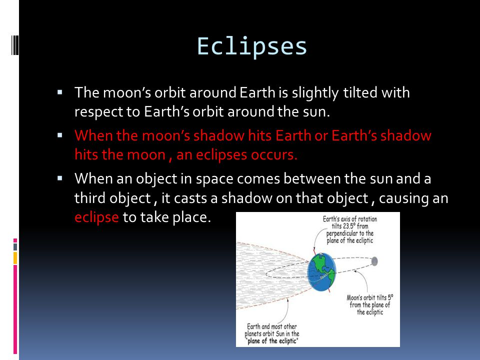 Eclipses The moon's orbit around Earth is slightly tilted with respect to Earth's orbit around the sun.