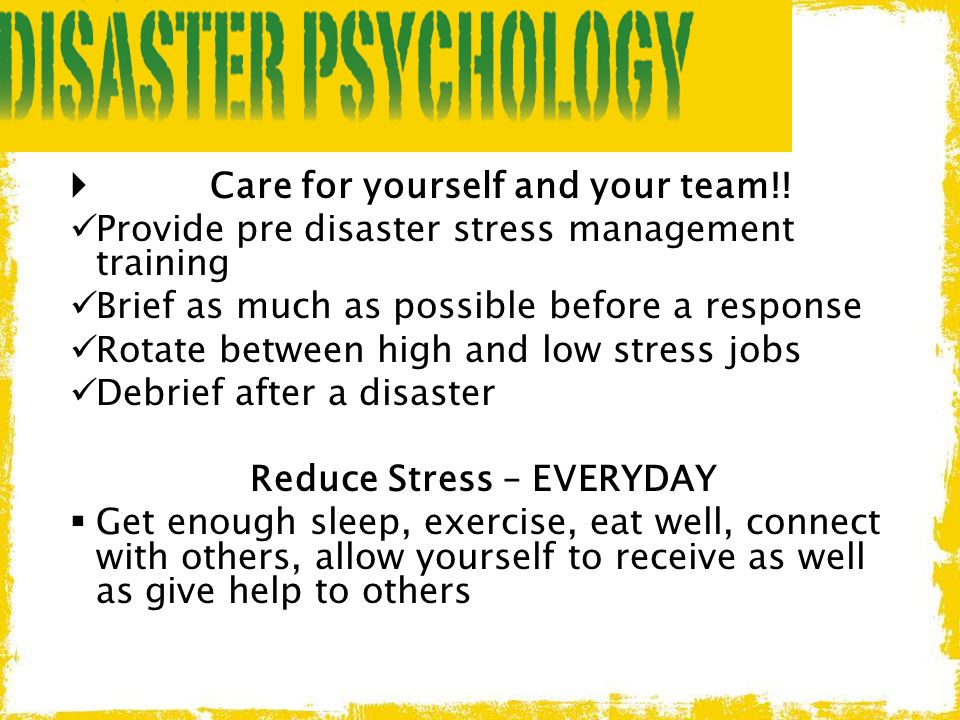 Care for yourself and your team!!