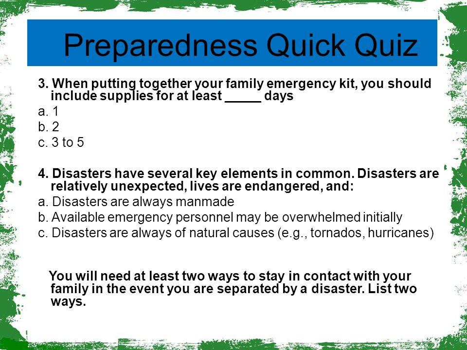 Preparedness Quick Quiz