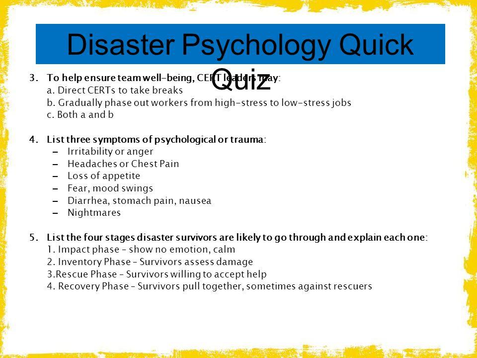 Disaster Psychology Quick Quiz
