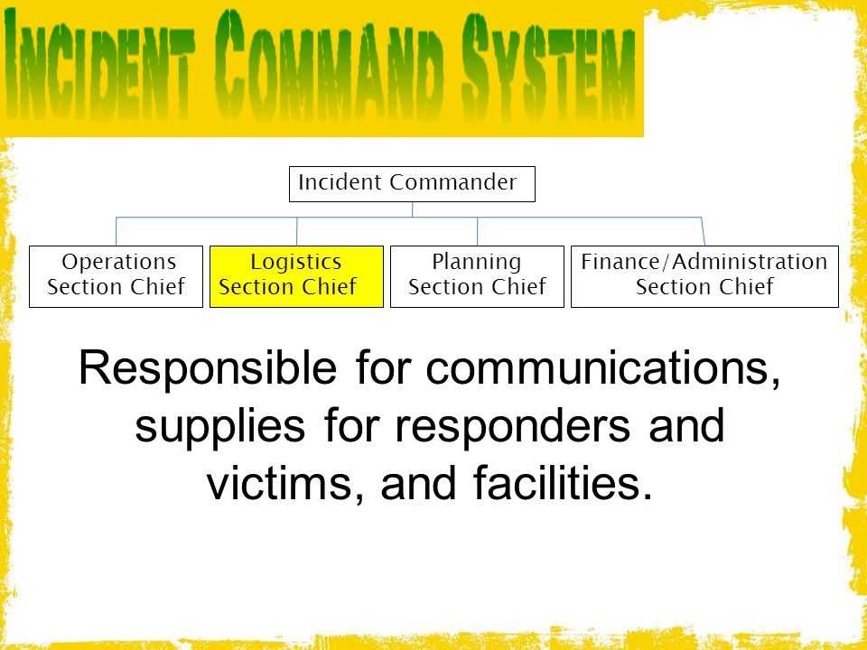 Incident Commander Operations Section Chief. Logistics. Section Chief. Planning Section Chief. Finance/Administration Section Chief.