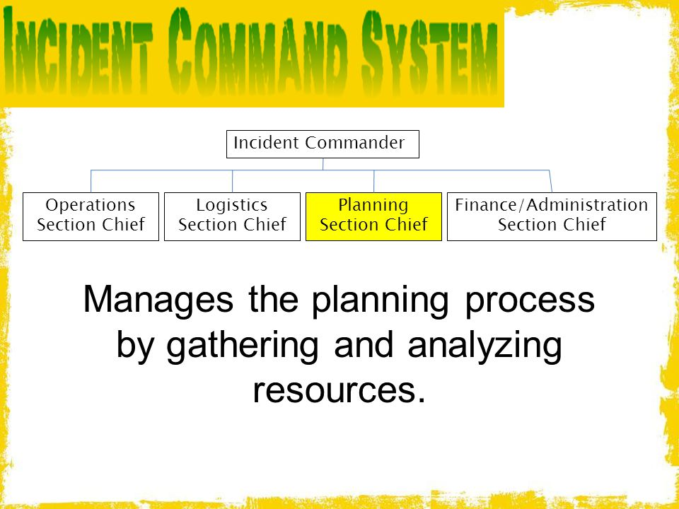 Manages the planning process by gathering and analyzing resources.