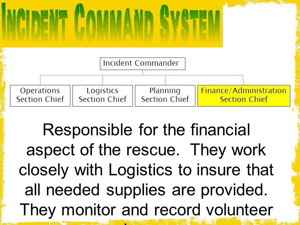 Incident Commander Operations Section Chief. Logistics Section Chief. Planning Section Chief. Finance/Administration.