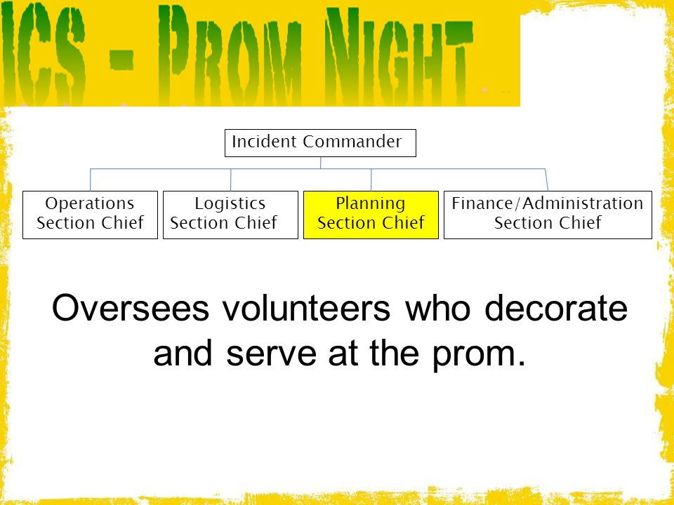 Oversees volunteers who decorate and serve at the prom.