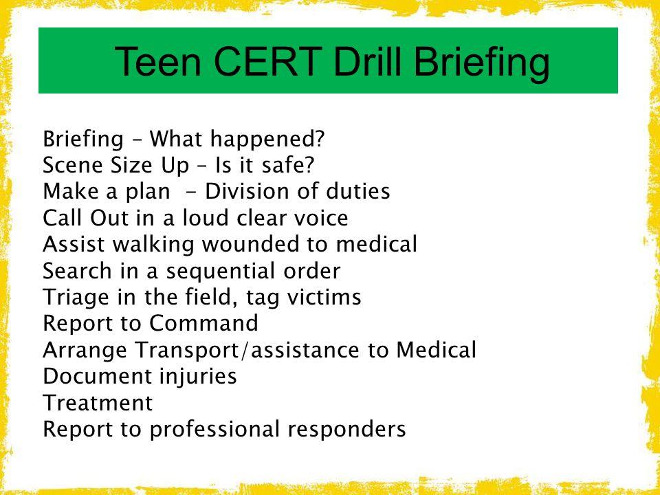 Teen CERT Drill Briefing