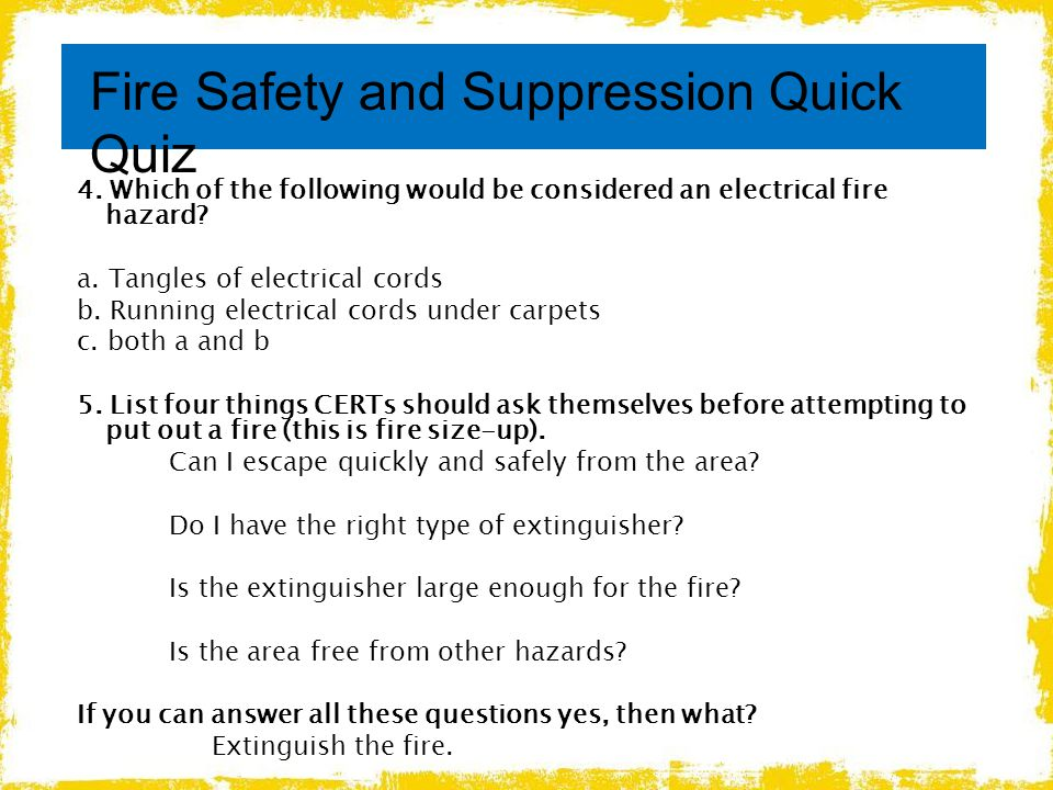 Fire Safety and Suppression Quick Quiz