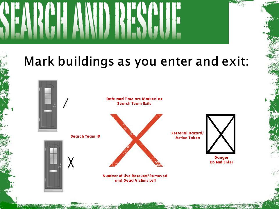 Mark buildings as you enter and exit: